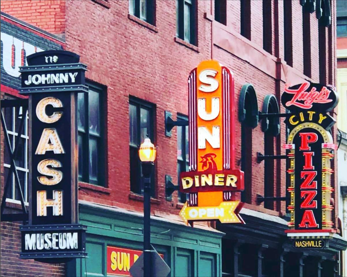 sun diner johnny cash museum luigis city pizza signs